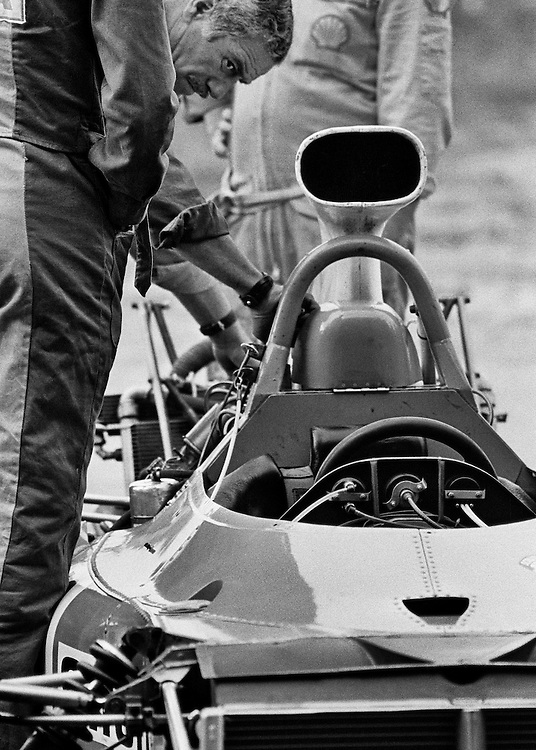 A mechanic prepares the French Matra engine in Chris Amon's Matra Simca  for the 1972 United States Grand Prix.<br />