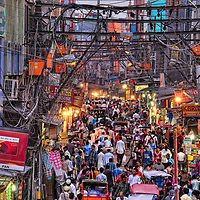 A busy street in Old Delhi near Jama Masjid.