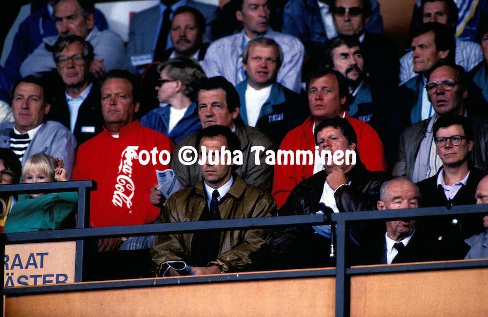 04.08.1988, Vaasa, Finland.German coach Franz Beckenbauer watching the match between Finland and Bulgaria.©Juha Tamminen