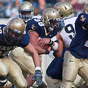 Navy FB (#39) Alexander Teich demonstrates why Navy is 5-2 as Teich powers his way up field for positive yards. Navy defeats Notre Dame 35-17 at The New Giant's Stadium in East Rutherford New Jersey