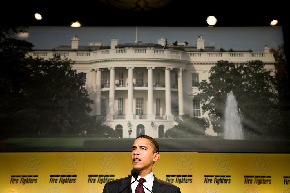 Senator Barack Obama (D-IL) speaks at the International Association of Fire Fighters Legislative Conference in Washington, DC, on Wednesday, Mar. 14, 2007.