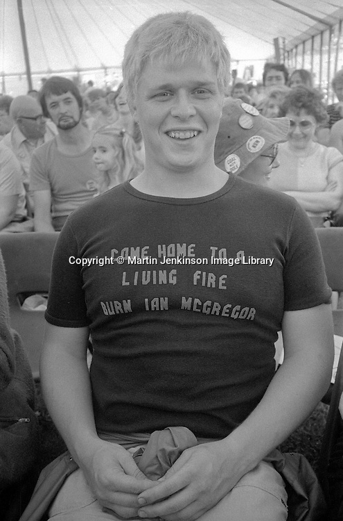 Mark Davies from Stillingfleet NUM in the Speaker's tent at the  Yorkshire Miners Gala, Wakefield. 16 June 1984