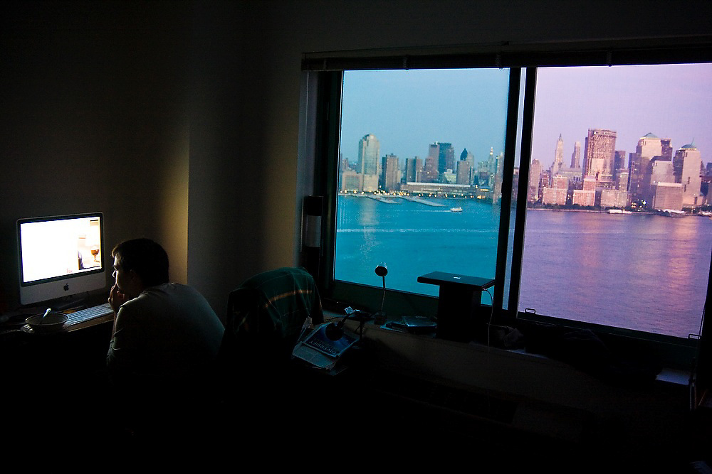 Downtown New York City and Manhattan seen from Will Garrity Binger's room in Hoboken, New Jersey.