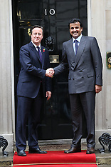 OCT 29 2014 David Cameron meets Emir of Qatar in Downing St