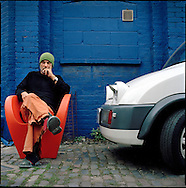 UK. London. Architect and chair designer, Ron Arad outside his studio in North London..Photo©Steve Forrest