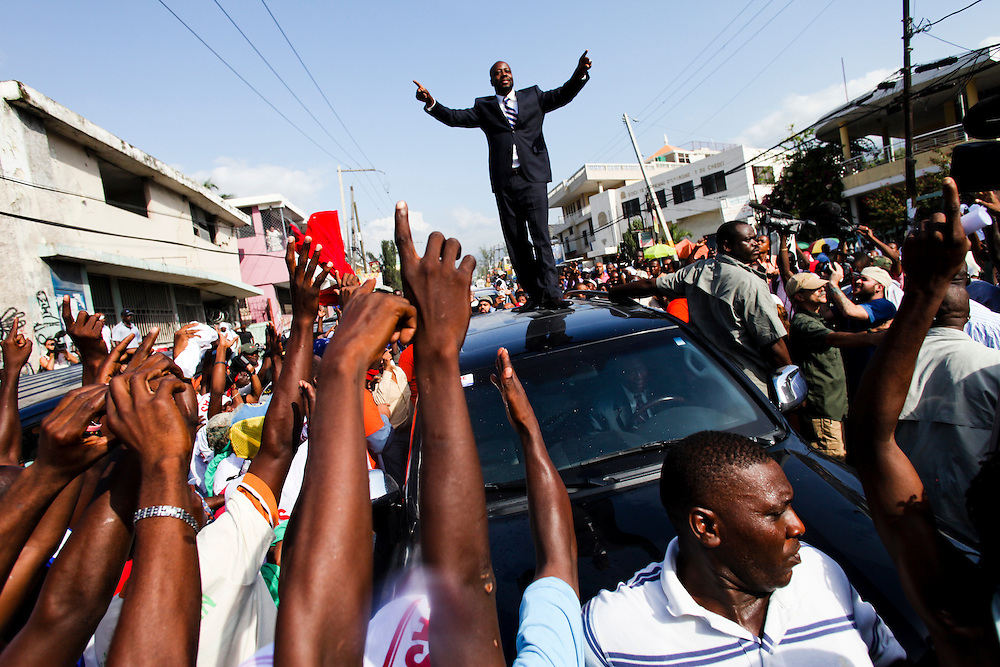 Wyclef Jean arrives at the Provisional Electoral Council (CEP) to register as a presidential candidate in Haiti.