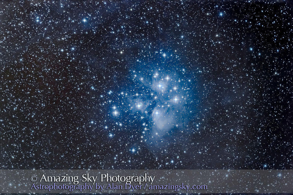 M45, the Pleiades star cluster, in a series of exposures to test stacking images with HDR techniques. <br /> <br /> I shot the cluster in a series of 1, 2, 4, and 8 minute exposures, four of each exposure, all using the Nikon D750 and 92mm TMB refractor. A set of 1,2,4, and 8 minute exposures was stacked in Camera Raw using its HDR mode to create a new merged DNG file. I did this for four sets of 1 to 8 minute exposures, then processed each of the HDR stacks with Shadows and Highlights in ACR to bring out faint detail but retain detail in the bright core. Each of the 4 HDR stacks was then mean combined stacked in Photoshop and processed with Curves, S&amp;H, B&amp;C etc. So in total this is a stack of 16 images, 4 each x 1, 2, 4, and 8 minutes. Diffraction spikes added in Photoshop with Astronomy Tools actions.