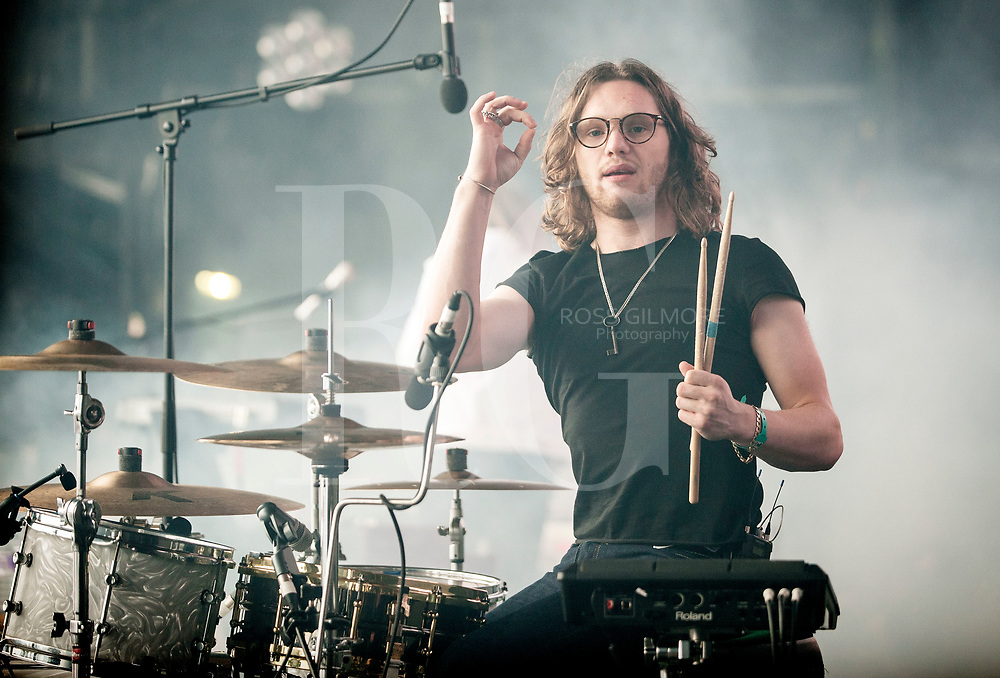 Drummer Joe Donovan of Blossoms performs on Day 3 of the T in the Park festival at Strathallan Castle on July10, 2016 in Perth, Scotland.