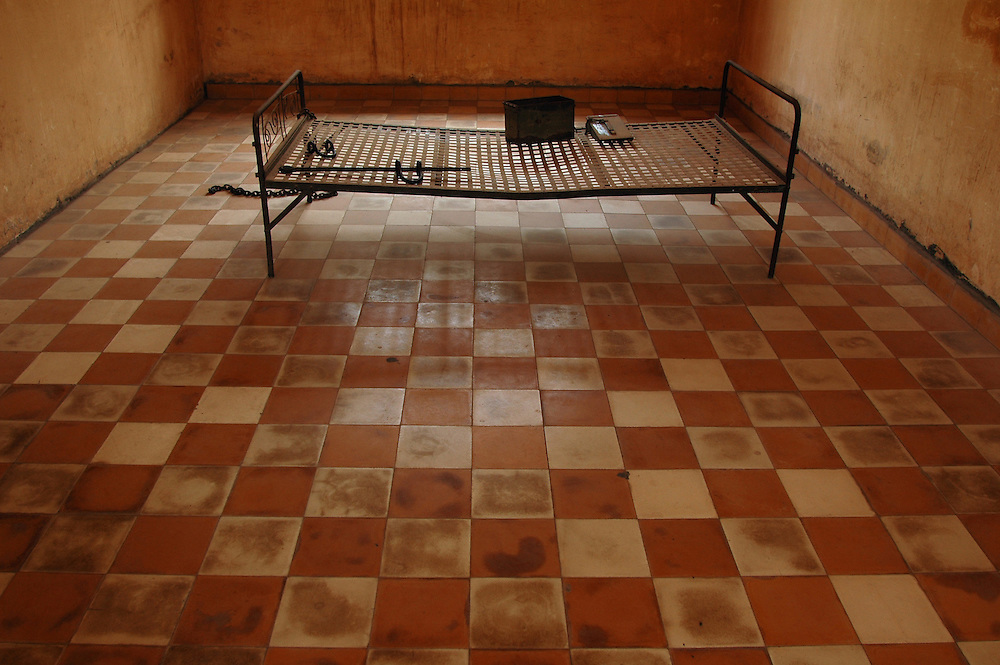 Bed used for torture at Tuol Sleung prison in Phnom Penh, Cambodia.
