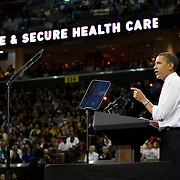 US President Barack Obama holds health-care rally at the Comcast Center at the University of Maryland in College Park Maryland, USA on 17 September 2009. The US Congress continues to debate various health care and medical insurance overhaul plans, but bipartisan consensus has yet to materialize.