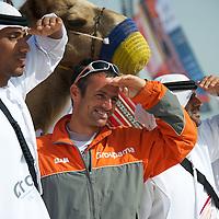 13.01.2012, Abu Dhabi. Volvo Ocean Race, frank cammas skipper of groupama sailing team, 2ns place in abu dhabi in port race