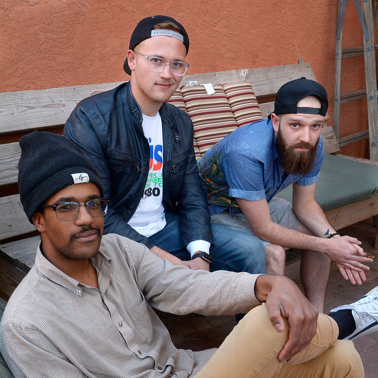 gbs031417q/ARTS -- Drew Mitchell, Zach Spalsbury and Manu Sandoval, from left, are owners of Maple St. Records  a recording studio in their house in southeast Albuquerque. (Greg Sorber/Albuquerque Journal)