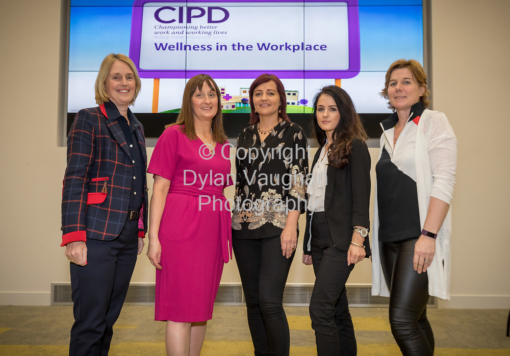 Repro Free No Charge for Repro<br /> <br /> 5-4-17<br /> <br /> CIPD South East Region/Vhi  WELLNESS IN THE WORKPLACE event<br /> Vhi hosted the CIPD South East Region &ldquo;Wellness in the Workplace&rdquo; event at their Purcellsinch offices on Wednesday 5th April 2017.  <br /> <br /> Pictured on the night were the CIPD South East Region committee Mary Ryan, Statia O&rsquo;Carroll, Eimear O'Donoghue, Skaiste Vitkute and CIPD Chairperson, AnneMarie McGrath.<br />  <br /> The event, which was attended by representatives from over 70 Kilkenny / local companies, focused on the benefits that Wellness programmes can bring to businesses and highlighted ways that employees and organisations can work together to improve everyone&rsquo;s health and wellbeing.  Speakers outlined the need to take a strategic approach to introducing a healthy workplace and culture and highlighted the benefits that Wellness programmes can bring including improved employee engagement, increased performance and productive levels and decrease absenteeism.<br /> <br /> Picture Dylan Vaughan.