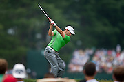 SERGIO GARCIA hits his tee shot on the 7th hole at Congressional Country Club during the first round of the U.S. Open in Bethesda, MD.