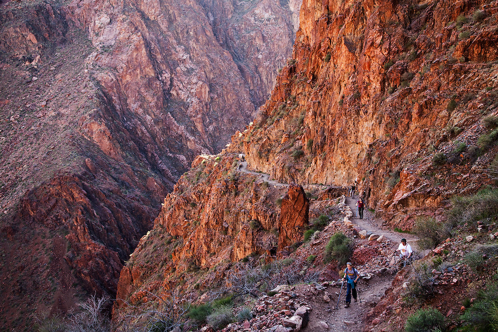 Hikers on the Bright Angel Trail. Grand Canyon National Park, Arizona