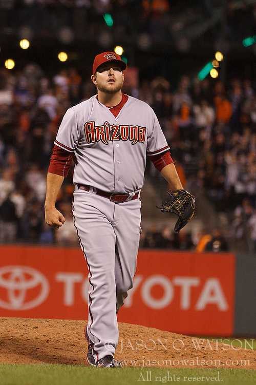 SAN FRANCISCO, CA - APRIL 16:  Evan Marshall #50 of the Arizona Diamondbacks returns to the dugout during the tenth inning against the San Francisco Giants at AT&T Park on April 16, 2015 in San Francisco, California.  The Arizona Diamondbacks defeated the San Francisco Giants 7-6 in 12 innings. (Photo by Jason O. Watson/Getty Images) *** Local Caption *** Evan Marshall