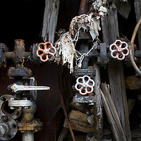Antarctica, South Georgia Island (UK), Decaying machinery at abandoned whaling station in Husvik along Stromness Bay