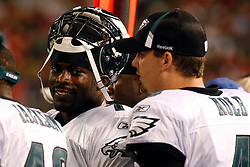 Sept 3, 2009; East Rutherford, NJ, USA;  Michael Vick smiles on the sideline during the second half at Giants Stadium.  The Jets defeated the Eagles 38-27.