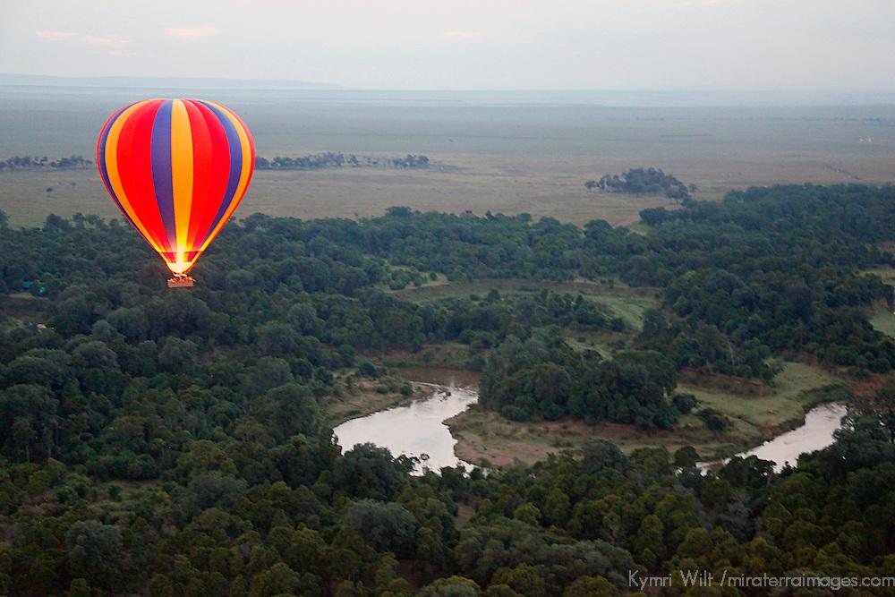 Africa, Kenya, Maasai Mara. Hot-Air Ballooning over the Mara River.