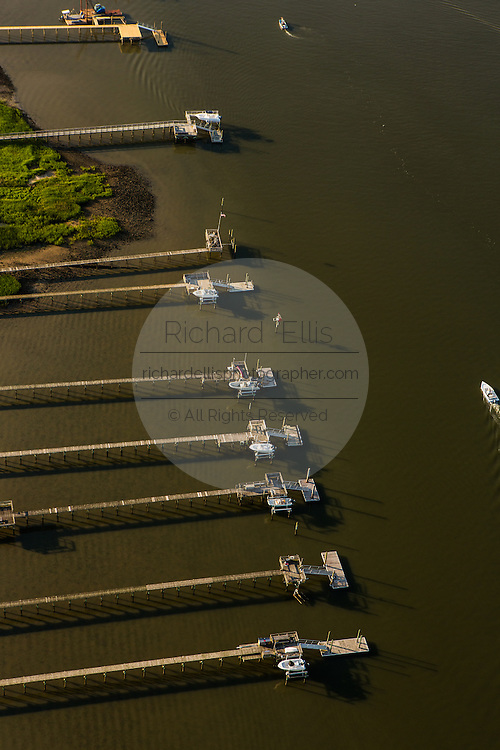 Aerial view of residential docks in Charleston, SC