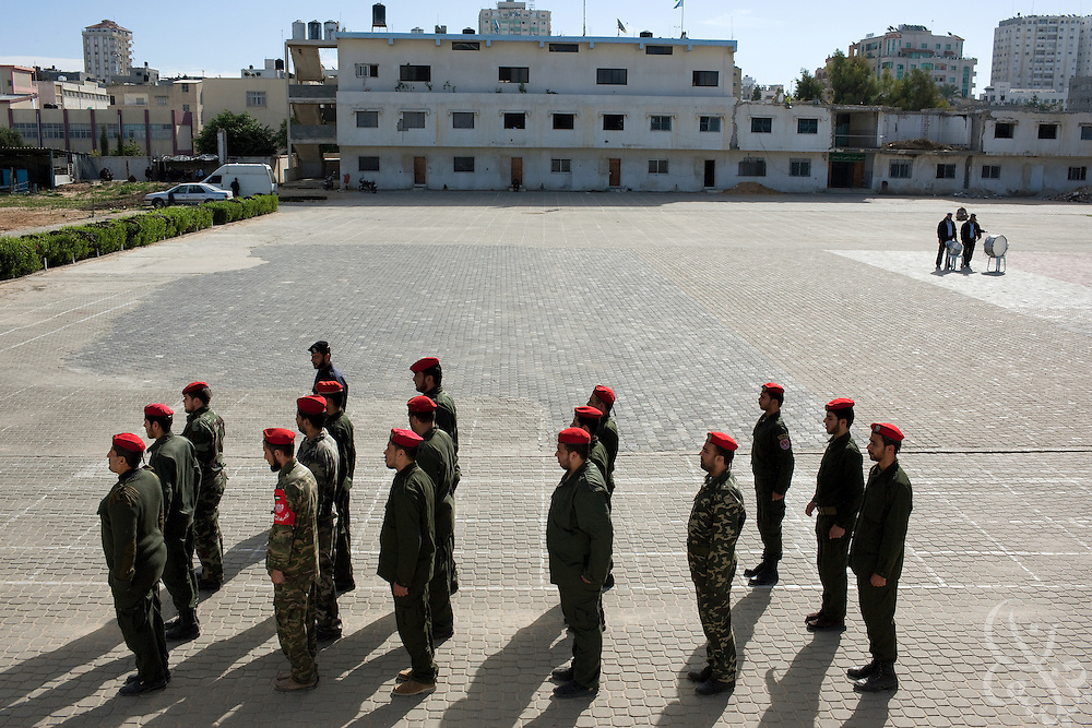 HAMAS border police undergo basic training December 21, 2009 at the City of Arafat Police headquarters in Gaza City, Gaza. The HAMAS police force was one of the main targets of the 22 day Israeli offensive a year ago and lost more than 150 members on the first day of strikes alone. The past year has seen HAMAS slowly rebuild its capacity, although the organization is careful not to congregate in large groups and only trains now in small numbers to avoid being an easy target again.