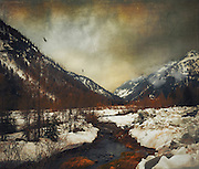 Alpine valley in the italian alps at the end of winter - textured photograph<br /> Society 6 products: https://society6.com/product/wild-winter-valley_print#1=45<br /> <br /> REDBUBBLE: http://www.redbubble.com/people/dyrkwyst/works/20744265-winter-valley?p=photographic-print