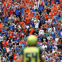 Thousands of Boise State fans packs pack the west end-zone at Autzen Stadium in Eugene, OR for the Oregon game.