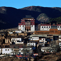 """ZHONGDIAN COUNTY, DECEMBER 19, 2000: a view of Songzanlin monastery, Yunnan province , December 19, 2000..Zhoudian county is believed to be part of the areas on which James Hilton's famous novel """" lost Horizon""""- a description of Shangri-La- is modeled.. ."""