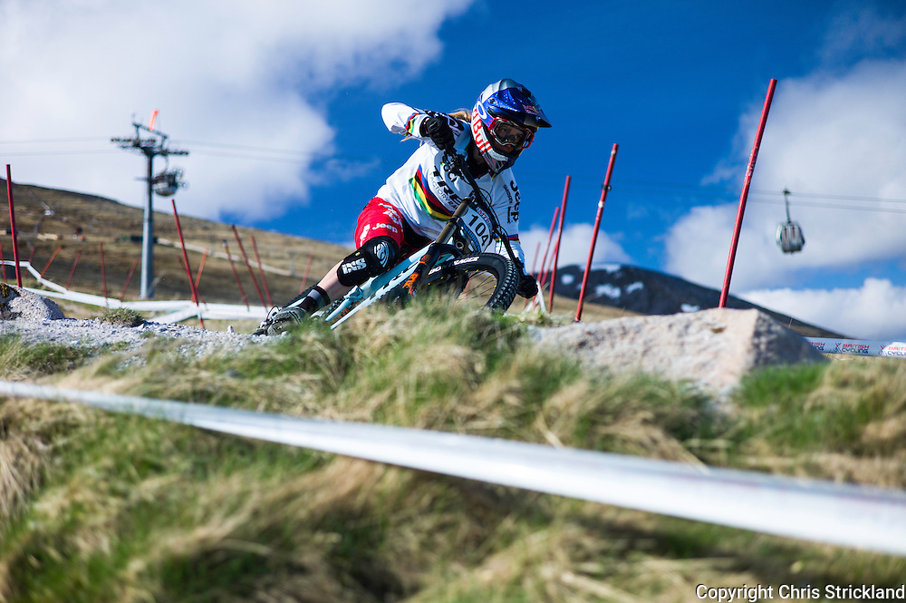 Nevis Range, Fort William, Scottish Highlands, UK. 15th May 2016. World Champion Rachel Atherton competes in the British Downhill Series on Nevis Range in the Scottish Highlands.