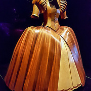 """""""Lady of the Wood"""" (2009) costume by David Walker is made of mahogony, lacewood, maple and cedar. WOW, World of Wearable Art (TM) is New Zealand's largest arts show. This showcase of work emerges from WOW, a spectacular international design competition where art and fashion intersect. This July 8, 2016 photo is from an exhibition at the EMP Museum, now called MOPOP (Museum of Pop Culture), Seattle, Washington, USA. For licensing options, please inquire."""