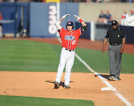 Ole Miss' Andrew Mistone (25) drives in a run with a single vs. Alabama at Oxford-University Stadium in Oxford, Miss. on Saturday, April 13, 2013. Ole Miss won 5-2.