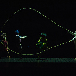 London, UK - 4 Janaury 2014: Notihisa Taguchi, Kata Banhegyi and House Troupe perform during the Skipping Ropes act during the dress rehearsal of Quidam at the Royal Albert Hall. (available only for editorial coverage of the Production)
