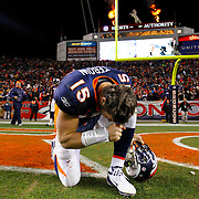 08 January 2012: Denver Broncos quarterback Tim Tebow (15) celebrates after the Broncos overtime win during the AFC Wild-Card NFL game between the Pittsburg Steelers and the Denver Broncos at Sports Authority Field at Mile High in Denver, CO.