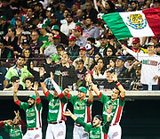 CULIACAN, MEXICO - FEBRUARY 1, 2017: Sergio Romo #54 of Mexico cheers from the dugout during the Caribbean Series game against Puerto Rico at Estadio de los Tomateros on February 1, 2017 in Culiacan, Mexico. (Photo by Jean Fruth)