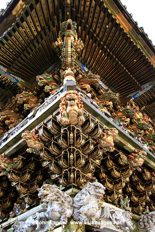 Toshogu Shrine is one of Japan's most popular destinations for tourists. Five structures at Nikko are categorized as National Treasures of Japan, and three more as Important Cultural Properties.  The second shogun Hidetada ordered the construction of the Nikko Toshogu Shrine. Later, the third shogun Iemitsu had the shrine enlarged and lavishly decorated.  Yomeimon Gate is the highlight of the shrine, far more lavishly decorative than the usual austere shrines in Japan.