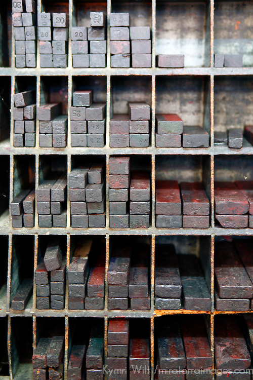 Central America, Cuba, Caibarien. Type Letter Press Block Cases in Cuban Print Shop.
