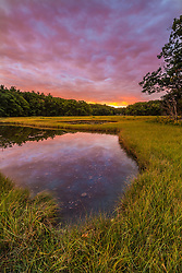 Dawn on the salt marsh along the Castle Neck River in Ipswich, Massachusetts.