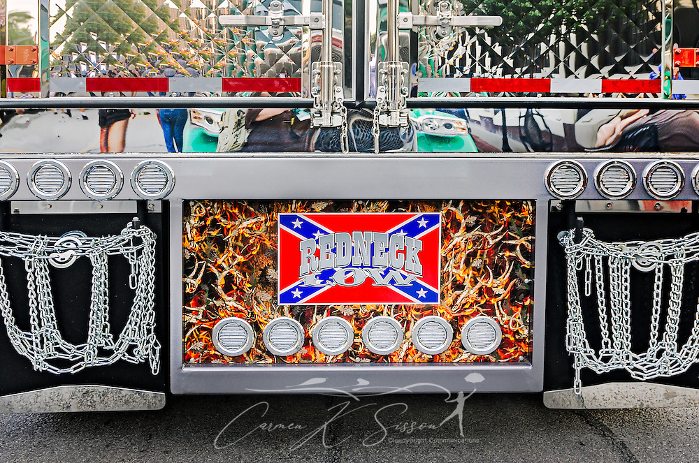 "A hunting theme is featured on the rear of ""Redneck Low,"" Sweet Rides Logistics' 2005 Kenworth T600 and 2017 Wabash Trailer, after the 34th annual Shell Rotella SuperRigs parade, June 10, 2016, in Joplin, Missouri. SuperRigs, organized by Shell Oil Company, is an annual beauty contest for working trucks. Approximately 89 trucks entered this year's competition. (Photo by Carmen K. Sisson/Cloudybright)"
