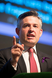 © Licensed to London News Pictures. 26/04/2017. London, UK. Labour shadow health secretary JONATHAN ASHWORTH MP announces new NHS policies at BT Convention Centre, Kings Dock, Liverpool, ahead of a general election on June 8th. Photo credit: Andrew McCaren/LNP