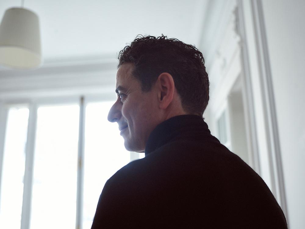 Paris, France. January 18, 2016. Chafik Gasmi, an architect, posing at his studio in Paris. Photo: Antoine Doyen