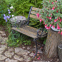 garden bench with container filled with fuschia