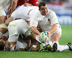 England's Matt Stevens gets the ball away against Georgia in the Rugby World Cup pool match at Otago Stadium, Dunedin, New Zealand, Sunday, September 18, 2011. Credit:SNPA / Dianne Manson.