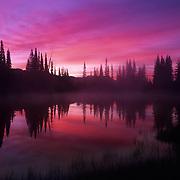 Reflection Lake at sunrise in Mt. Rainier National Park, WA.