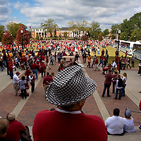 """TUSCALOOSA, AL -- October, 24, 2009 -- University of Alabama fans head into the game adorned with houndstooth hats in honor of former coach Paul """"Bear"""" Bryant  prior to the Crimson Tide's 12-10 victory over the University of Tennessee Volunteers at Bryant-Denny Stadium in Tuscaloosa, Ala., Saturday, Oct. 24, 2009."""