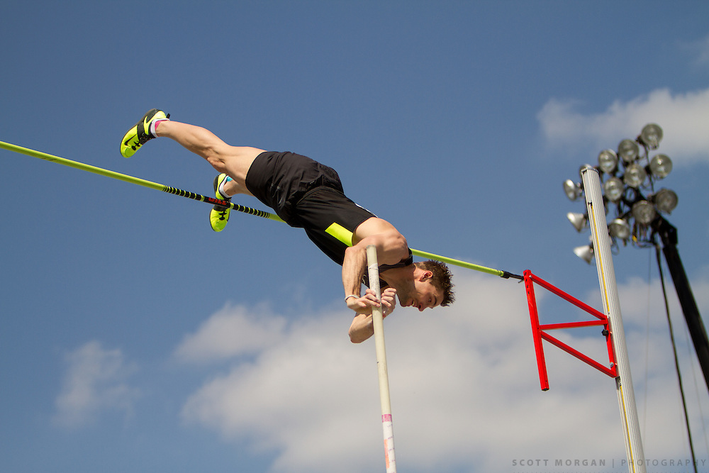 Nike athlete Bjorn Otto of Germany clears 5.70 meters to win the pole vault Saturday, April 27, 2013, during the Drake Relays in Des Moines..Photo by Scott Morgan 2013