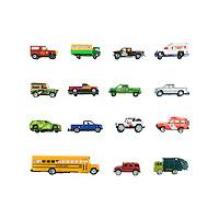 Still life of toy trucks on a white background.