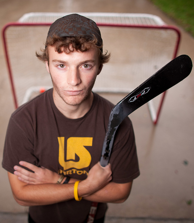 Forest, Ontario ---11-09-30--- Tyler McGregor, 17, from Forest, Ontario was a AAA hockey player until cancer claimed his left leg in 2010. Tyler is playing ice hockey again but he is currently preparing for Saturday's Princess Margret Hospital Foundation's Road Hockey to Conquer Cancer Tournament fundraiser. He has raised $3500 and his team  the &quot;Greatest Show on Asphalt&quot; is approaching $30,000 in donations.<br /> GEOFF ROBINS The Globe and Mail