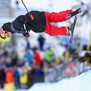 12/19/08 2:54:13 PM -- Breckenridge, CO, U.S.A. -- Skiier Tanner Hall starts to spin as he leaves the superpipe while competing at the inaugural Winter Dew Tour in Breckenridge, Co. on December 19, 2008. Hall went on to win the event. The four-day competition is the first of three stops on the tour that features freeskiing and snowboarding.-- ...Photo by Marc Piscotty, Freelance.