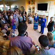 SIOUX CITY, IA - JUNE 13: Democratic presidential hopeful Hillary Clinton talks to supporters Saturday, June 13, 2015, during a house party at the home of Chuck and Linda Smoley in Sioux City, Iowa. The Hillary for Iowa campaign simulcast the event to 55 parties in Iowa and more than 650 around the country. Scott Morgan for The New York Times