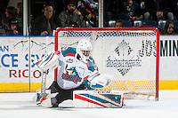 KELOWNA, CANADA - FEBRUARY 13: Michael Herringer #30 of the Kelowna Rockets  makes a second period save against the Seattle Thunderbirds on February 13, 2017 at Prospera Place in Kelowna, British Columbia, Canada.  (Photo by Marissa Baecker/Shoot the Breeze)  *** Local Caption ***